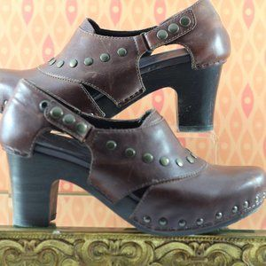 Dansko Brown Leather Studded Clogs